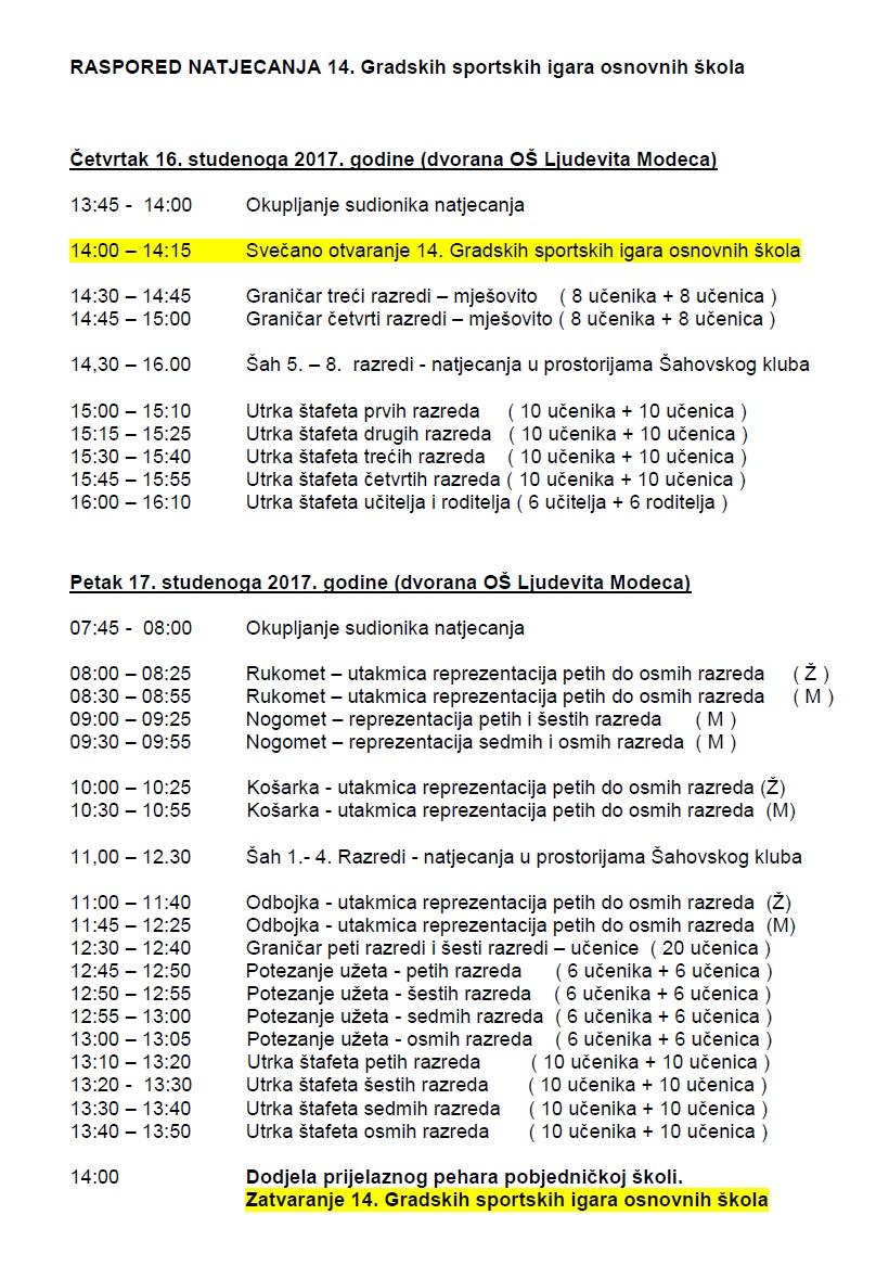 igre osnovnih skola raspored