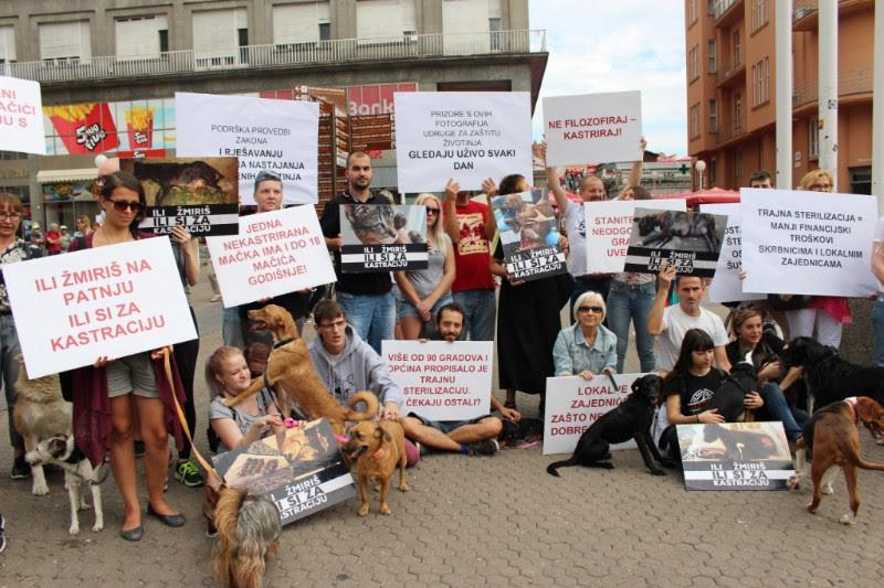 """""""Ili žmiriš ili si za kastraciju"""" na Trgu bana Jelačića – ukazan problem napuštanja životinja"""