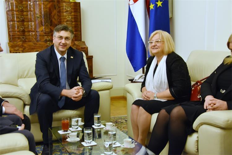 Predsjednik Vlade Plenković s glavnom direktoricom Eurostata: 'Popis stanovništva 2021. prvi puta u digitalnom obliku'