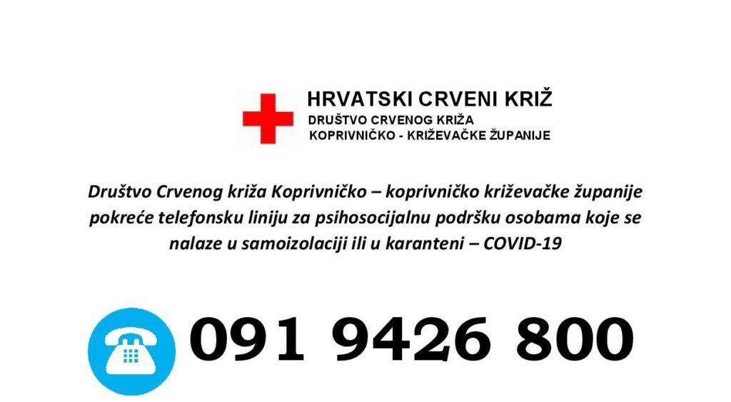 Županijsko Društvo Crvenog križa pokrenulo telefonsku liniju za psihosocijalnu podršku