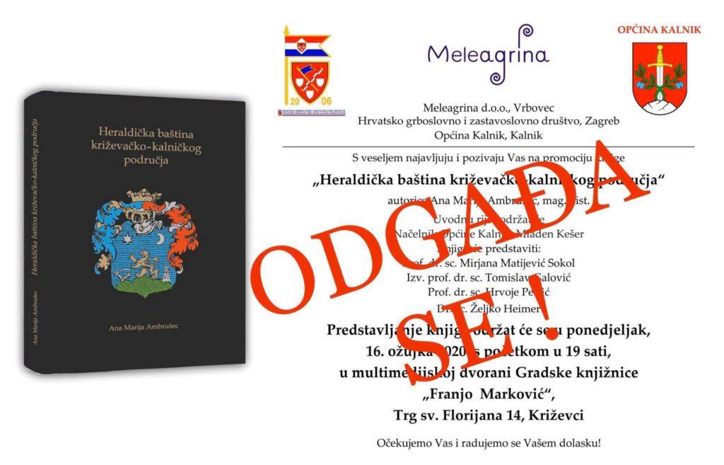 """Odgođena promocija knjige """"Heraldička baština križevačko-kalničkog područja"""""""