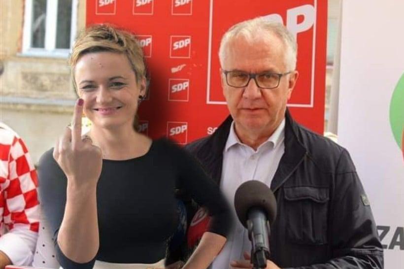 MAESTRALNO Potpredsjednik SDP-a Rajko Ostojić kritizirao potez bivše predsjednice koja je pokazala srednji prst Škori, dok HSS-ovka Kristina Škoda stoji iza njega