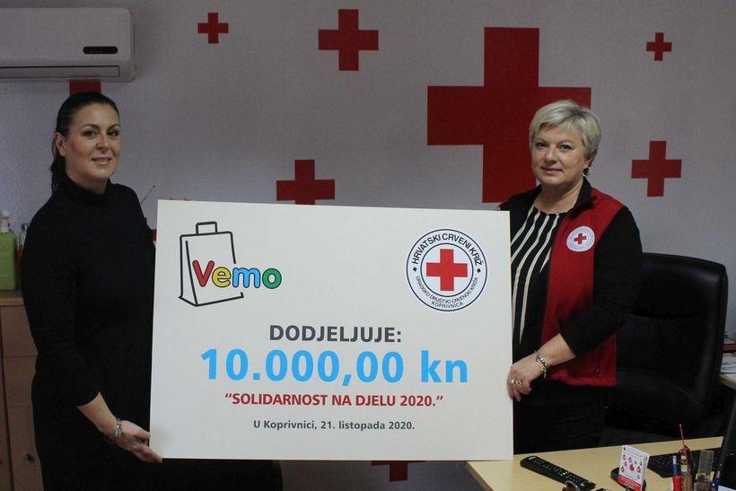 Tvrtka VEMO TRADE donirala 10.000 kuna za akciju 'Solidarnost na djelu 2020.' koprivničkom Crvenom križu