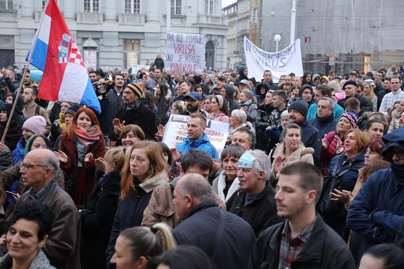 U Zagrebu održan prosvjed protiv mjera i Nacionalnog stožera