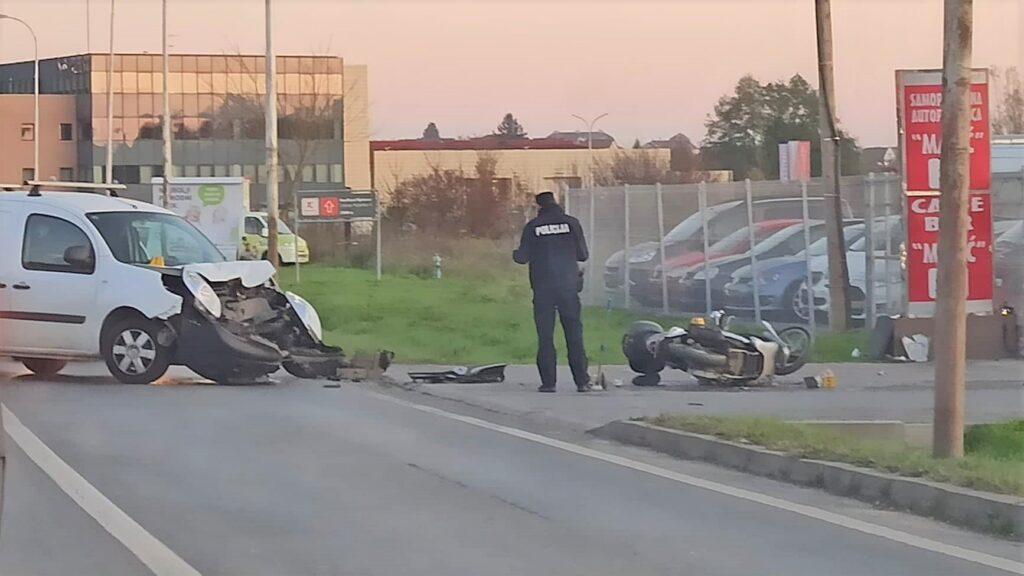 TEŠKA PROMETNA NA KRIŽEVAČKOJ CESTI Vozač motocikla završio u kanalu