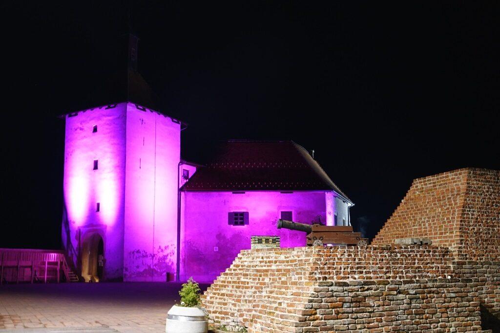 Utvrda Stari grad osvijetljena u ljubičasto za sve Palčiće