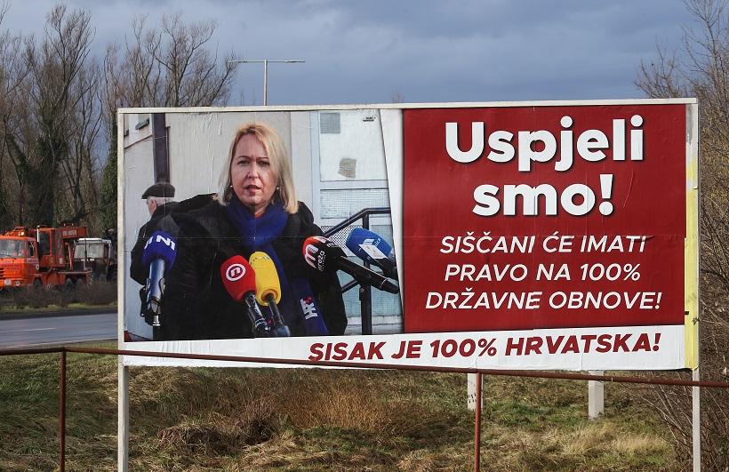 Grad Sisak platio plakate s porukom sisačke gradonačelnice